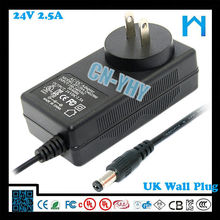 24V 2.5A wall mounted(wall adapter) with USA plug 5.5 2.5 zf120a-2402500 60w