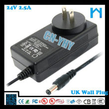 24V 2.5A настенный (настенный адаптер) с штепсельной вилкой США 5.5 2.5 zf120a-2402500 60w