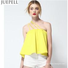 Las mujeres del verano sola correa de hombro sin tirantes de color sólido camisa sin mangas suelta 2016 nuevas tapas atractivas