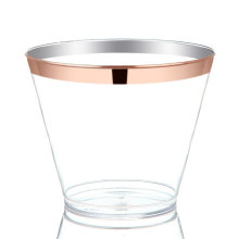 Rose Gold Rimmed Plastic Cups Disposable Hard Party Wedding 7oz 9 oz 10oz 12oz
