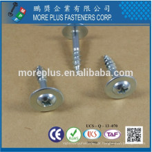 Fabricado em Taiwan C1022 # 2 PHIL Round Round Washer Head Tipo de rosca grossa 17 Zinc Plated CR6 + Particle Board Screw