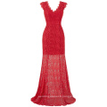 Kate Kasin Cap Sleeve V-Neck V-Back Red Lace Long Evening Dress Prom Ball Gown Formal Occasion KK000190-1