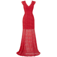 Kate Kasin Cap manga V-cuello V-Back rojo encaje largo vestido de noche vestido de fiesta de baile ocasion formal KK000190-1