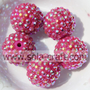 Rose AB Wholesale Solid Round Resin Rhinestone Beads 20*22MM For Jewelry