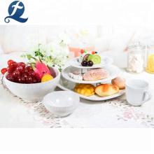 Hotel Restaurant Custom White Ceramic Tableware Dinnerware Sets