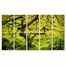 Arte de la pared de la lona del árbol de arce / pintura japonesa de la lona del paisaje de la primavera / impresión multi de la lona del panel