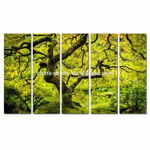 Maple Tree Canvas Wall Art/Spring Japanese Landscape Canvas Painting/Wholesale Multi Panel Canvas Print