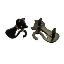 Custom Bag Accessories Black Cat Shaped Metal Tag Metal Plate