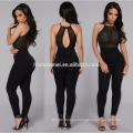 2017 Custom wholesale casual black sexy bandage bodycon ladies jumpsuit for women