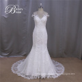 2016 Cap Sleeve Sheer Back Sweetheart Mermaid Lace Wedding Dresses