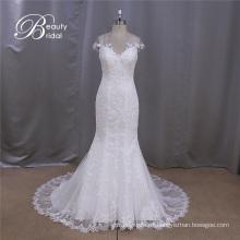 2016 cap manga vestido voile espalda encaje sirena vestidos de novia