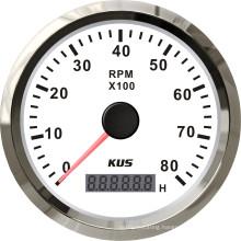 Best Price! ! ! 85mm Tachometer Gauge Tacho White Faceplate Stainless Steel Bezel Boat Car Tachometer 0-8000rpm for Diesel Engine