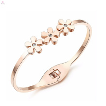 Statement Good Luck Love Stainless Steel Crystal Rose Gold Flower Bangle