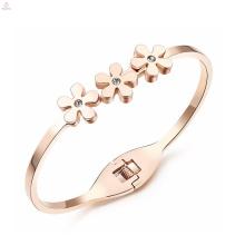 Declaração boa sorte amor aço inoxidável cristal rose gold flower bangle