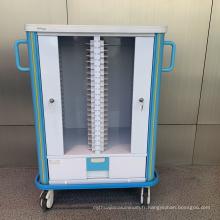 Chariot facultatif de dossier médical de couleur en aluminium d'hôpital