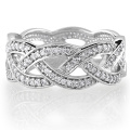 Sterling Silver Cubic Zirconia CZ Accent Woven Design Band Ring