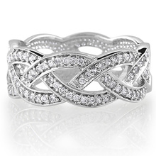 Стерлинговое серебро Cubic Zirconia CZ Accent Woven Design Band Ring