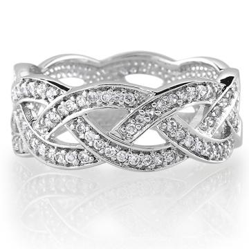 Sterling Silber Zirkonia CZ Accent Gewebter Design Band Ring