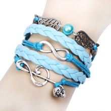 asas de anjo do crânio metais música feliz nota azul infinito pérola pulseira trançada couro corda azul pulseira atacado