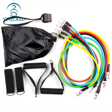 Factory made latex elastic fitness strength training combination pack 11 pcs workout yoga resistance bands