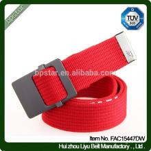 Men Fashion Cotton Canvas Braided Wide Belt With Metal Buckle