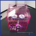 Custom Pink Acrylic Cosmetic Makeup Organizer with Diamond Knobs