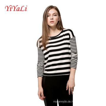 Frauen Langarm Streifen T-Shirt