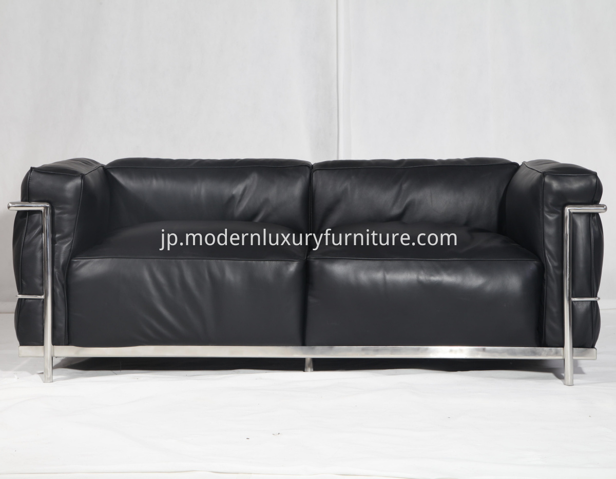 black leather LC3 Grand confort 3 seater sofa