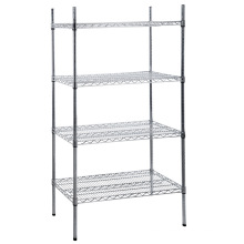 Folding Chrome Metal Wire Mesh Display Shelf
