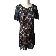Летняя мода цветок Жаккардовые шею с коротким рукавом платье для женщин