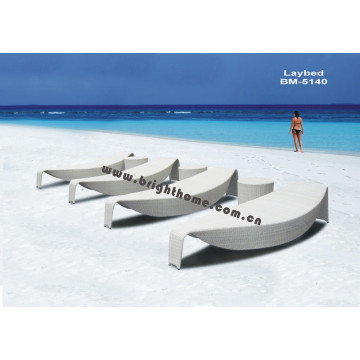 Excelente diseño Rottan Wicker al aire libre Sun Bed
