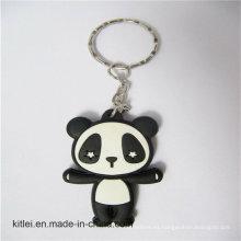 Pequeño silicón inyección PVC Craft negro impreso 2D Panda Keyring