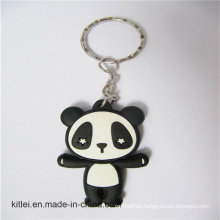 Small Silicone Injection PVC Craft Black Printed 2D Panda Keyring