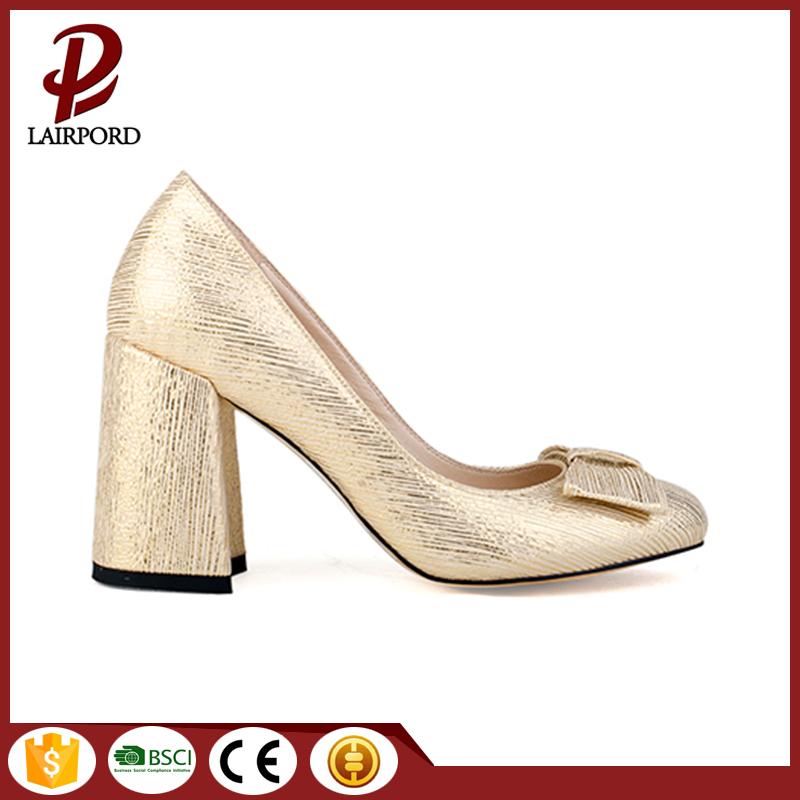8cm Gold PU middle heel elegant sandals
