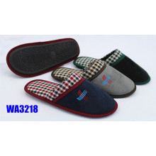 Men's  Check Collar Suede Binding Indoor Slippers Check Collar