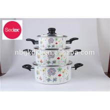 Carbon steel enamel cookware with bakelite handle enamel lid & enamel pot set