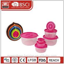 NEW 7 PCS Plastic Round Food Container Set(0.11L/0.26L/0.520L/1L/1.6L/2.7L/4.3L)