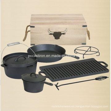 Juego de camping al aire libre para horno holandés Preseasoned de hierro fundido