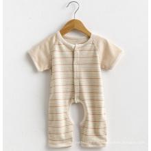 Manga curta listrado bebê macacão