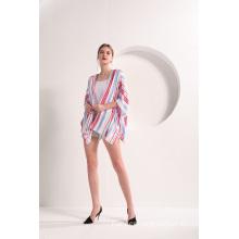 Open Front  Stripe Short Sleeve Kimono