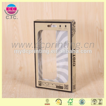 Fancy folding pvc window packaging box for phone covers