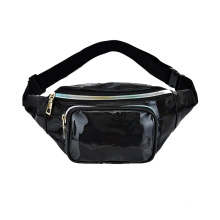 custom logo private label Amazon Shinny PU Leather Holographic Laser waterproof belt bag Fanny Pack Waist Bag for women