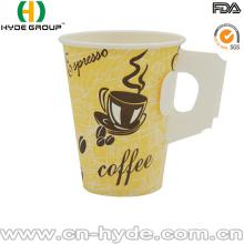 Taza de café de papel de encargo de la impresión caliente de encargo 9oz con la manija