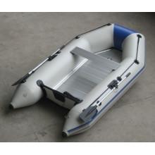 Barco inflável pequeno com piso de alumínio, barco a remo em PVC