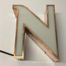 Armazene o sinal do alfabeto do sinal das letras de canal do diodo emissor de luz da resina de cola Epoxy do Parte dianteira-Iluminada