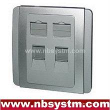 Placa frontal, tipo 86, 2 portas (chapeamento de prata)
