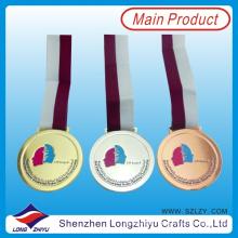 Gana Gold Silver Medalha de Bronze Medalha Gravada Medalha de Esmalte Macio com Fita Ribbon Medalha para o Governo (lzy00016)