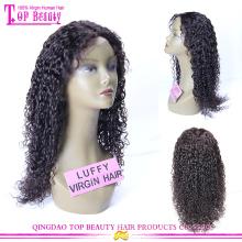 Perucas longas da parte dianteira do laço da peruca longa preta indiana de Remy da peruca para mulheres negras
