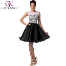 2015 Grace Karin corto negro Homecoming vestidos patrones sin mangas de encaje Homecoming vestidos CL6123-2 #