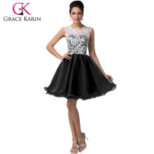2015 Grace Karin Short Black Homecoming Dresses Patterns Sleeveless Lace Homecoming Dresses CL6123-2#